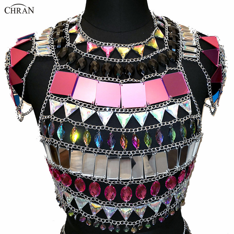 Chran Women Mirror Chainmail Crop Top Sparkly Mirror Tank Bra Halter Shoulder Necklace Nightclub Party Gem Festival Wear Jewelry light pink halter off the shoulder crop top