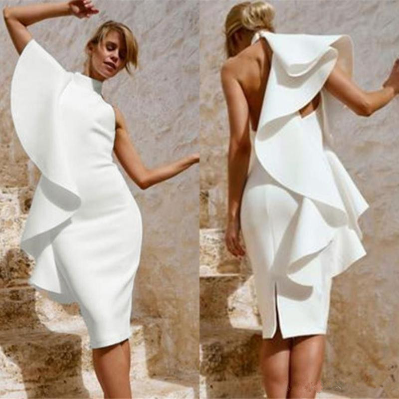 White 2019 Cocktail Dresses Sheath High Collar Knee Length Ruffles Backless Elegant Party Homecoming Dresses