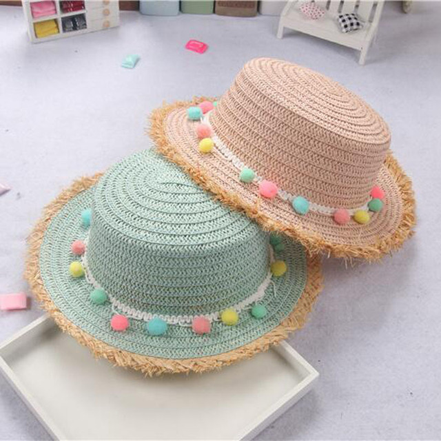 815f97276fd 2018 Child Summer Panama Sun Hats Colorful Tassel Balls Straw Hat Girl  Floppy Wide Brim Beach