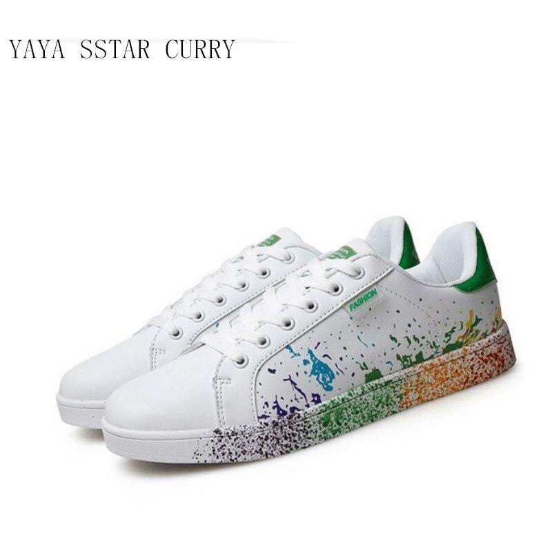 Prix pour YAYA ÉTOILES CURRY 2017 nouveaux hommes et femmes chaussures jet d'encre petit blanc chaussures de grande taille 45-46 hommes chaussures