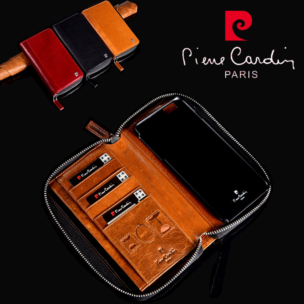Brand New Pierre Cardin Genuine Leather Book Wallet Cards Flip Zipper Bag Case Cover For Apple