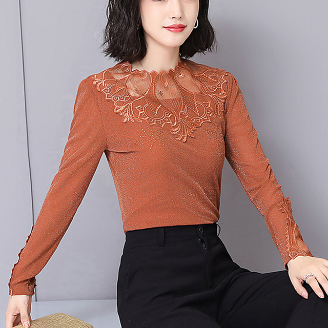 9e8c33998c7b5a New Design Spring Autumn Sexy Party Women Long Sleeve Lace Shirts Half Transparent  Net Embroidery Flower