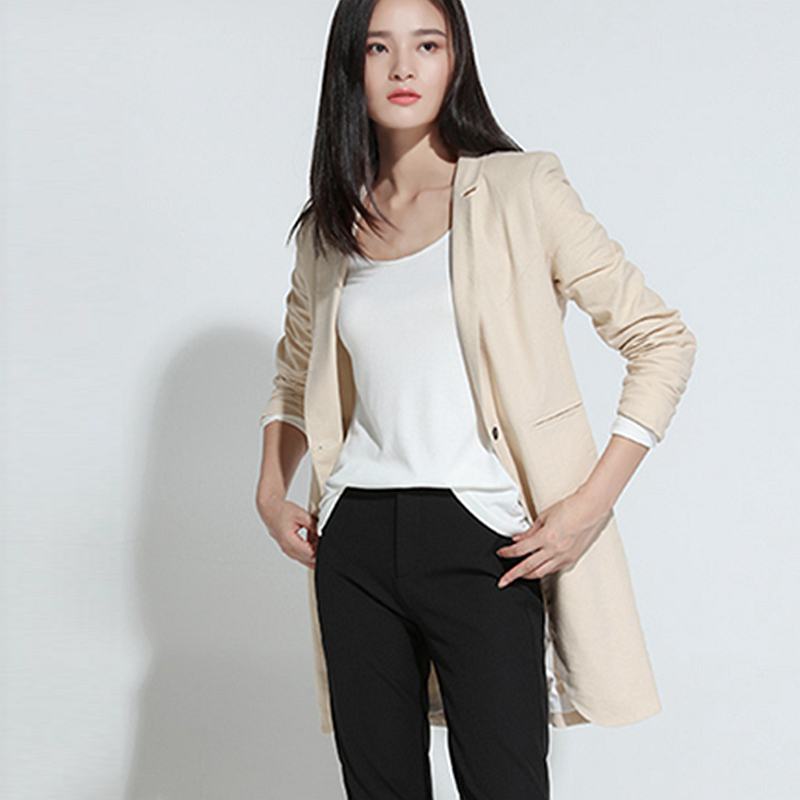 Blazers Women 54 Linen Blended Simple Design Single Button Pockets 2 Colors Ladies Causal Suit Coat