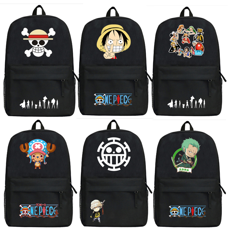 Anime One Piece Luffy Backpack Cartoon Roronoa Zoro Bags Oxford Student School Bag Unisex 16 inch anime teenage mutant ninja turtles nylon backpack cartoon school bag student bags double shoulder boy girls schoolbag