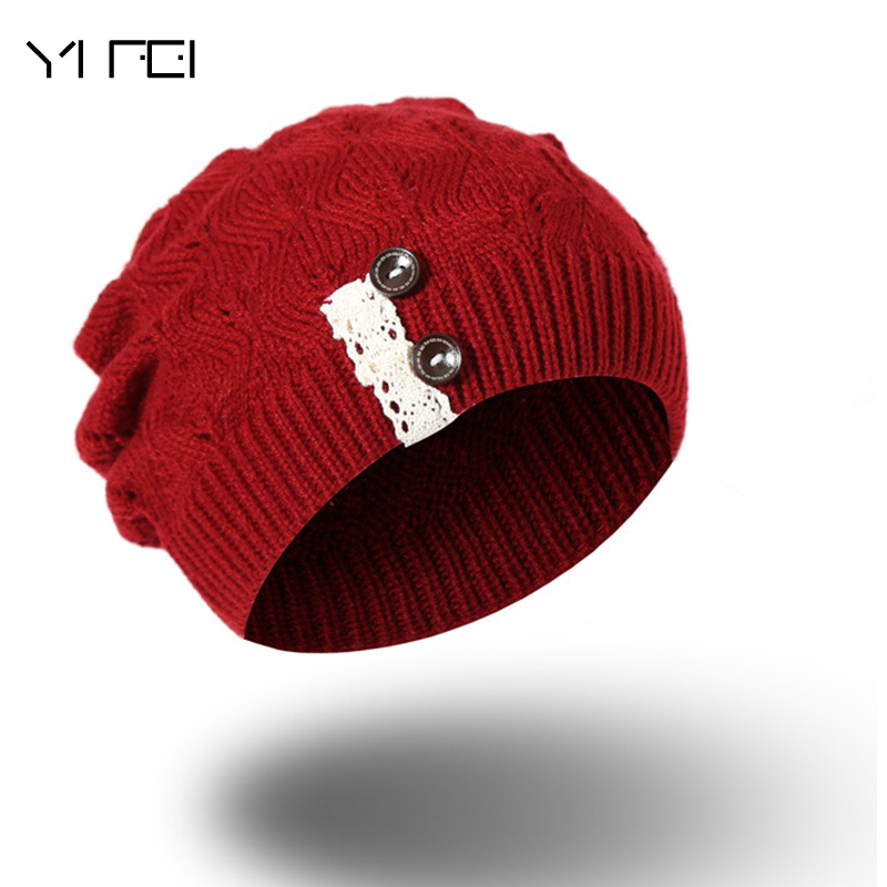 Autumn Winter Wool Knit Slouchy Hat For Women Girls Cross Lace Buttons Caps Women Wool Knit Beanie Braided Hats Stocking Hat 2015 winter autumn new lace cross straps