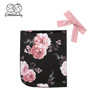 Emmababy Baby Sleeping Blanket Newborn Girl 0-3M Kids Floral Swaddle Muslin Wrap Swaddling Sleeping Bag Headwear Bedding