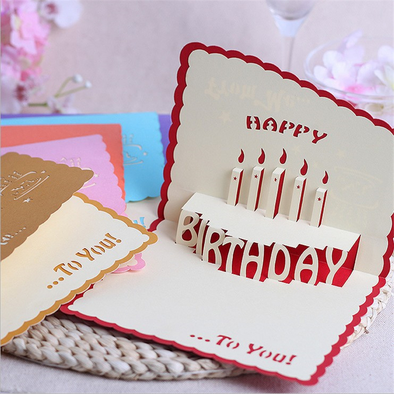 10Pcs/lot Creative Happy Birthday 3D Solid Handmade
