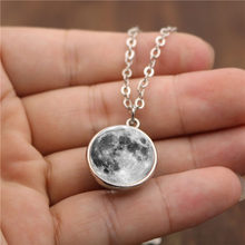 Fashion Women Men Double-Sided Grey Full Moon Crescent Glass Ball Pendant Necklace Long Sweater Chain Necklace Jewelry Collares(China)