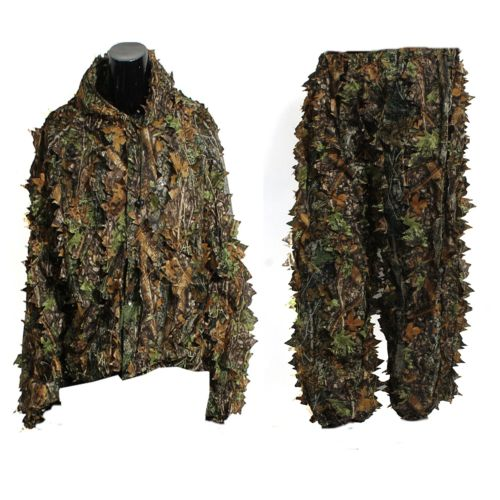 ELOS-Polyester Durable Outdoor Woodland Sniper Ghillie Suit Kit Cloak Military 3D Leaf Camouflage Camo Jungle Hunting Birding