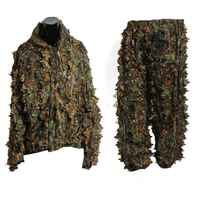 Elos-polyester Durable en plein air forêt Sniper Ghillie costume Kit manteau militaire 3D feuille Camouflage Camouflage Jungle chasse observation