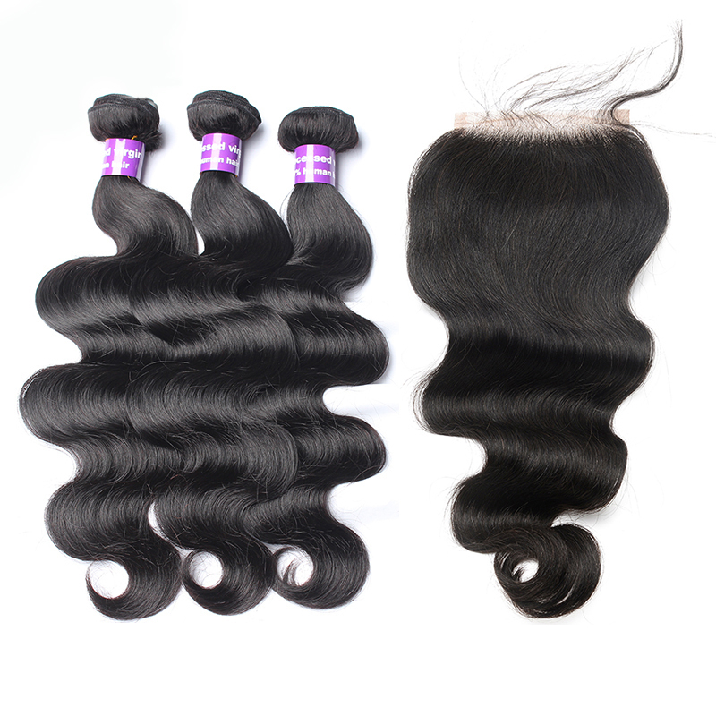 Body Wave Human Hair Bundles With Closure Brazilian 3 Hair Weave Bundles With 4x4 Closure Bleached knots CARA Hair Products Remy