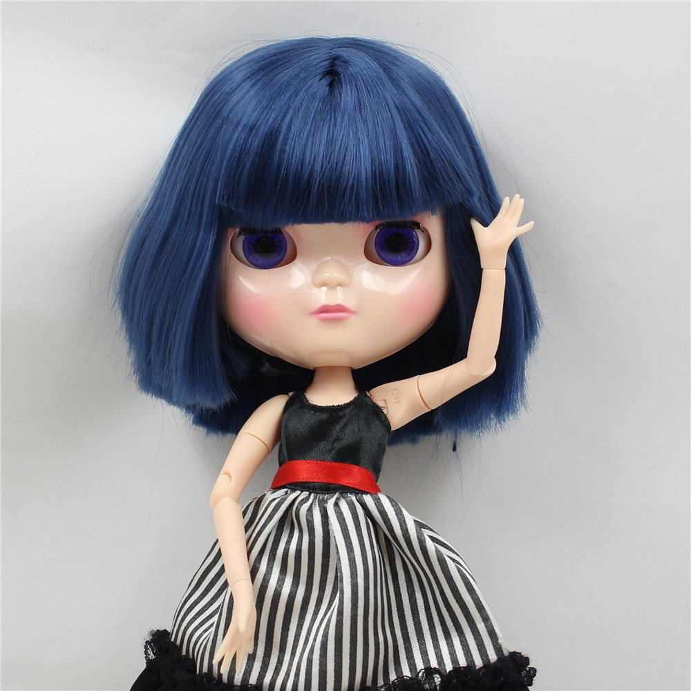 Neo Blythe Doll with Blue Hair, White Skin, Shiny Face & Jointed Azone Body 2