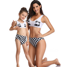 New Cute Panda Print 2PCS Set Mom and Daughter Swimwear Mommy Me Swimsuit Matching Outfits Girls Swimming Clothes
