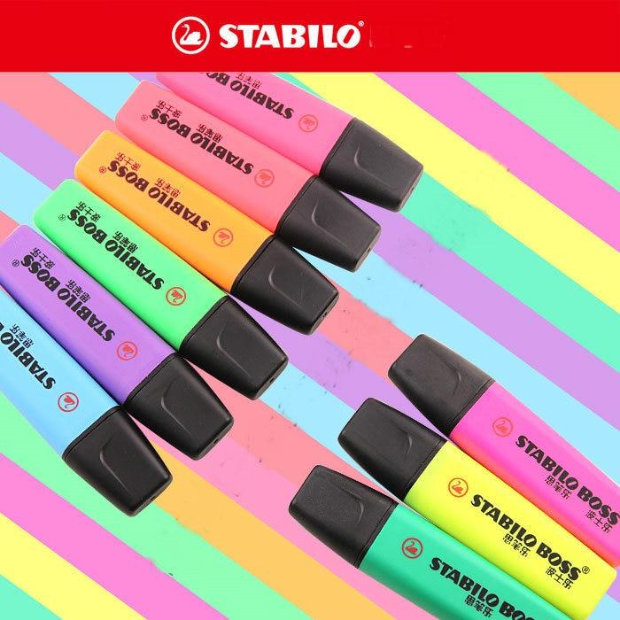 Pastel Purple Pink Green Blue Timber Wood Look: Stabilo Textmarker Boss Original 70 Highlighter Germany