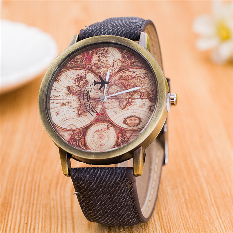 Fashion Women's World Map Cowboy Band Analog Quartz Wrist Watch