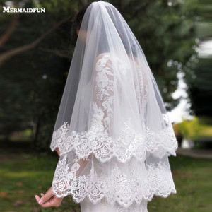 Image 5 - New Arrival 2 Layers Sequins Lace Edge Short Woodland Wedding Veils with Comb 2 T White Ivory Tulle Bridal Veils