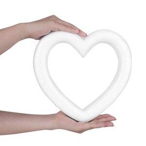 Image 2 - Nouvelle couronne de mousse de polystyrène en forme de coeur blanche pour bricolage artisanat fête de mariage ronde coeur damour en option