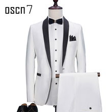 OSCN7 White Suit Men Slim Fit Shawl Lapel Wedding Dress Suits for Men Event 2017 Plus Size Terno Masculino Solid 2 Pcs Tuxedo