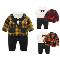 2017 New European Style Baby Toddler Boys Long Sleeve Gentlemen Bowknot Plaid Coat Rompers Outfit Jumpsuit