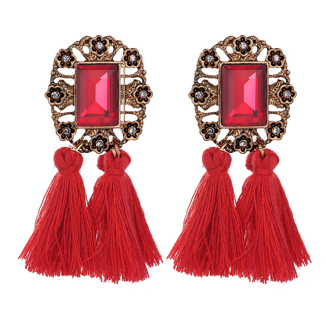 Sacred vintage Crystal Dangle Tassel Earrings