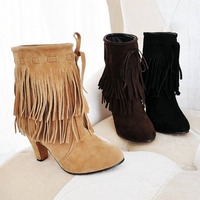 Big Size US 4 15 2013 New Arrived Pointed Toe High Heels Slip On Tassel Faux