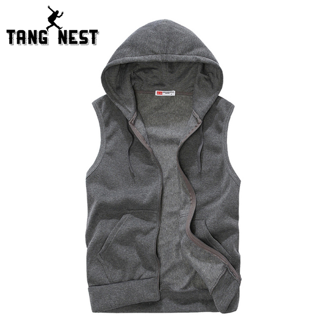 TANGNEST 2017 Spring Summer Fashion Casual Hooded Sleeveless Men Vest Soft Fit Comfortable Solid Color Vest Men 5 Colors MWB183