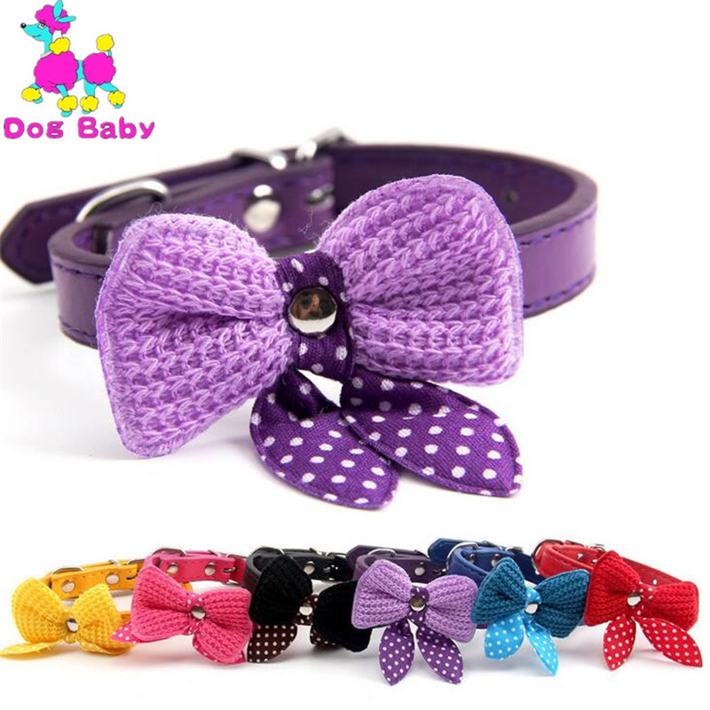 DOGBABY Wholesale Bow Pets Collars Dog Necklace Size S M Blue Black Red Purple Yellow Rose Red Color Dog Collar For Dogs Cats