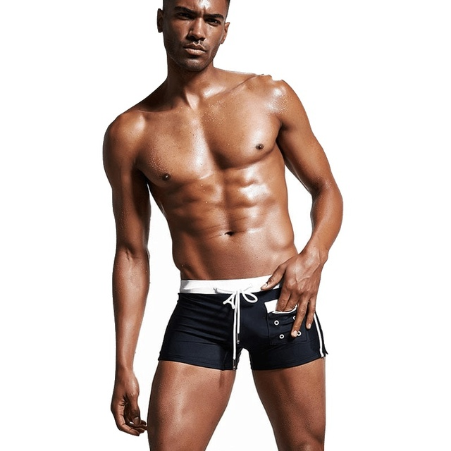 77097189aba28 2019 Nylon Drawstring Tight Swim Bathing Suits Men Swimwear Shorts Briefs Trunks  Swimsuit Large Size Sports