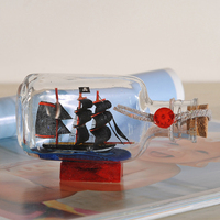 Mediterranean Sailing Home Decorations Ornaments Wooden Gifts Creative Handmade Sailboat Glass Holder Wooden Boat Manual Gifts