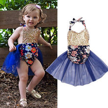 Floral Summer Baby Girls Clothes Sequins Backless Sunsuit Baby Girls Romper Outfits Patchwork Sequins Tulle Girls Rompers 0-24M