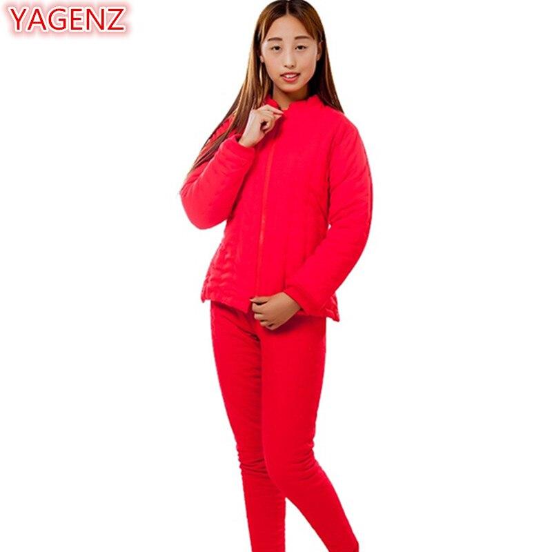 Mère D'âge Vêtements Long red Pièces 2 Moyen Taille 651 gray Rouge Ensemble Automne Tops Navy Yagenz Grande Coton Femmes Dame Pantalon Costume Hiver pink black wT6qxX0P