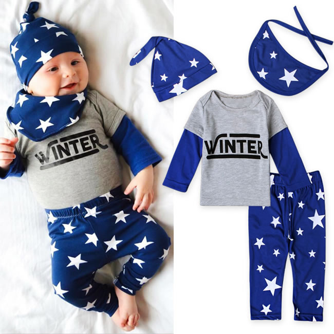 New Year My First Christmas Outfits For Baby Boy 4PC Set Clothes China New Born Hat+Saliva Towel+T Shirt+Pant Suit Costume