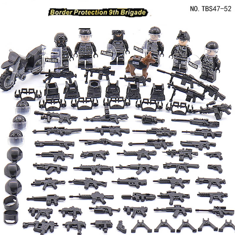 New Compatible LegoINGlys Military United Swat Army Air Force Minifigure Weapon Bricks Building Blocks Toys Children Gifts