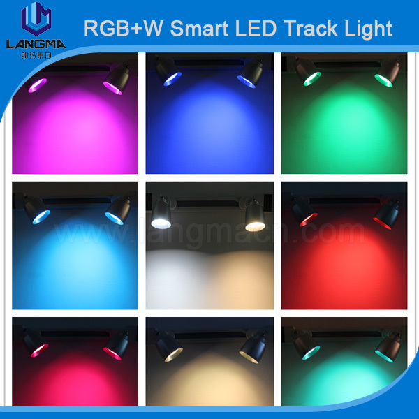 Color Changing 2 Lines Track Lights 7w Smart Remote Controll Lighting Systems Ceiling Spotlights In From On