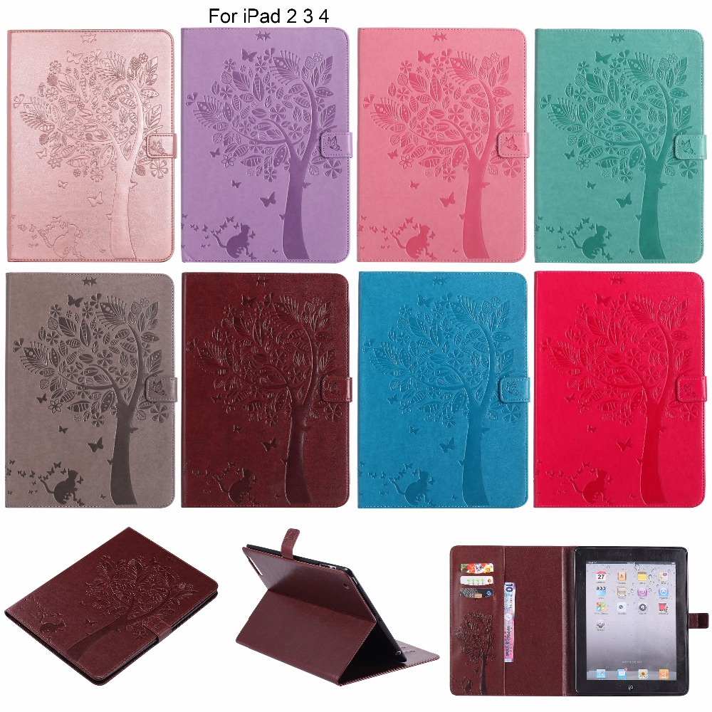 Cat & Tree Pattern Magnetic Wallet Flip PU Leather Case For iPad 2 3 4 Tablet Cover With Card Slot For iPad2 iPad3 iPad4 9.7inch mercury goospery leather fancy diary wallet flip case cover for ipad 2 3 4 rose yellow