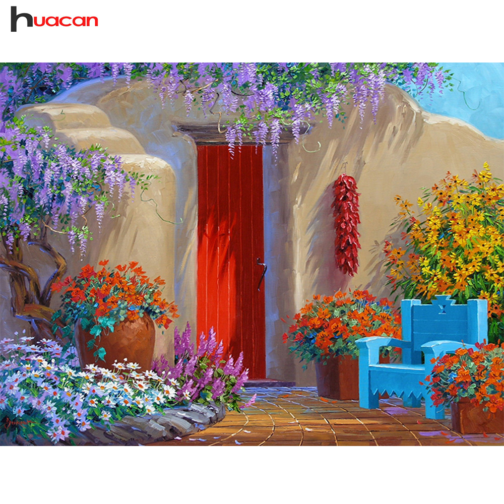Huacan Diamond Painting Natural Pattern Handmade Diamond Embroidery Landscape Mosaic Stitch Suit Picture Beautiful Gift