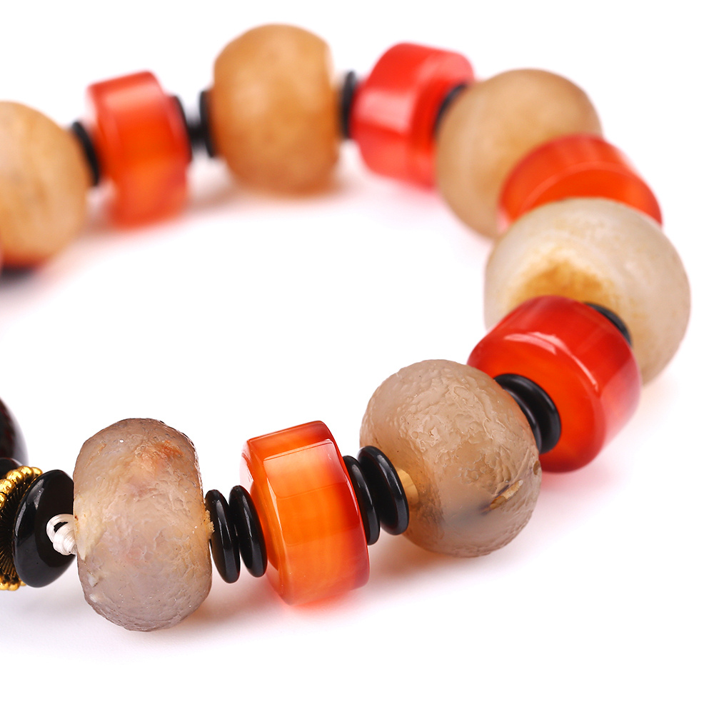 Оптовая продажа 21 см круглый браслет achat Будды naturstein Форма Натуральный камень браслет агат Howlite Для женщин Pearl Браслет Stretch DK