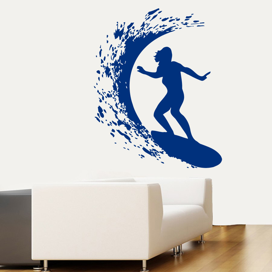 Cool Surfer Woman Surfing Patterned Wall Decals Home Bathroom Special Decor Vinyl Wall Poster Surfing On
