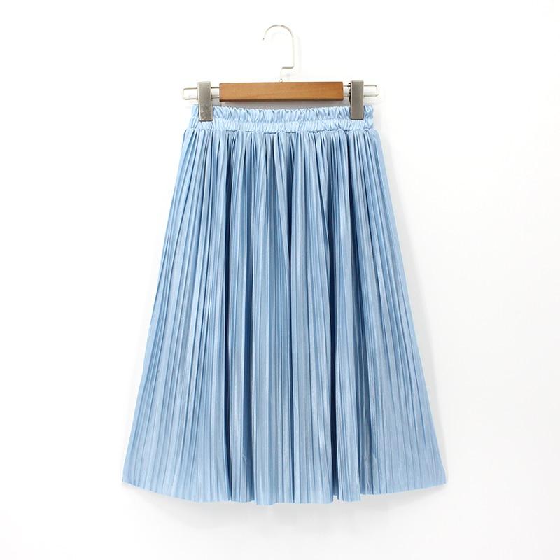 2018 Dame Plus Größe Rock Knie Länge Metallic Plissee Röcke Frauen Koreanische Stil Hohe Taille Elastische Sexy Vintage Saia Midi Verkaufspreis