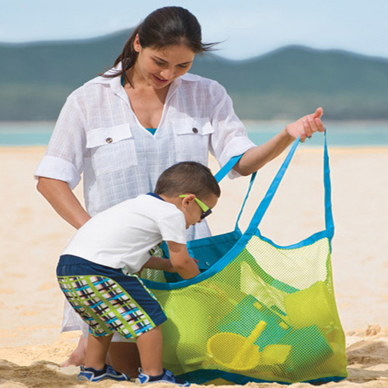 Baby Beach Toys Storage Mesh Bag Portable Baby Carry Sand Toys Sand Away Beach Bag Pouch Tote Net Bag Water Fun Sports Backpacks