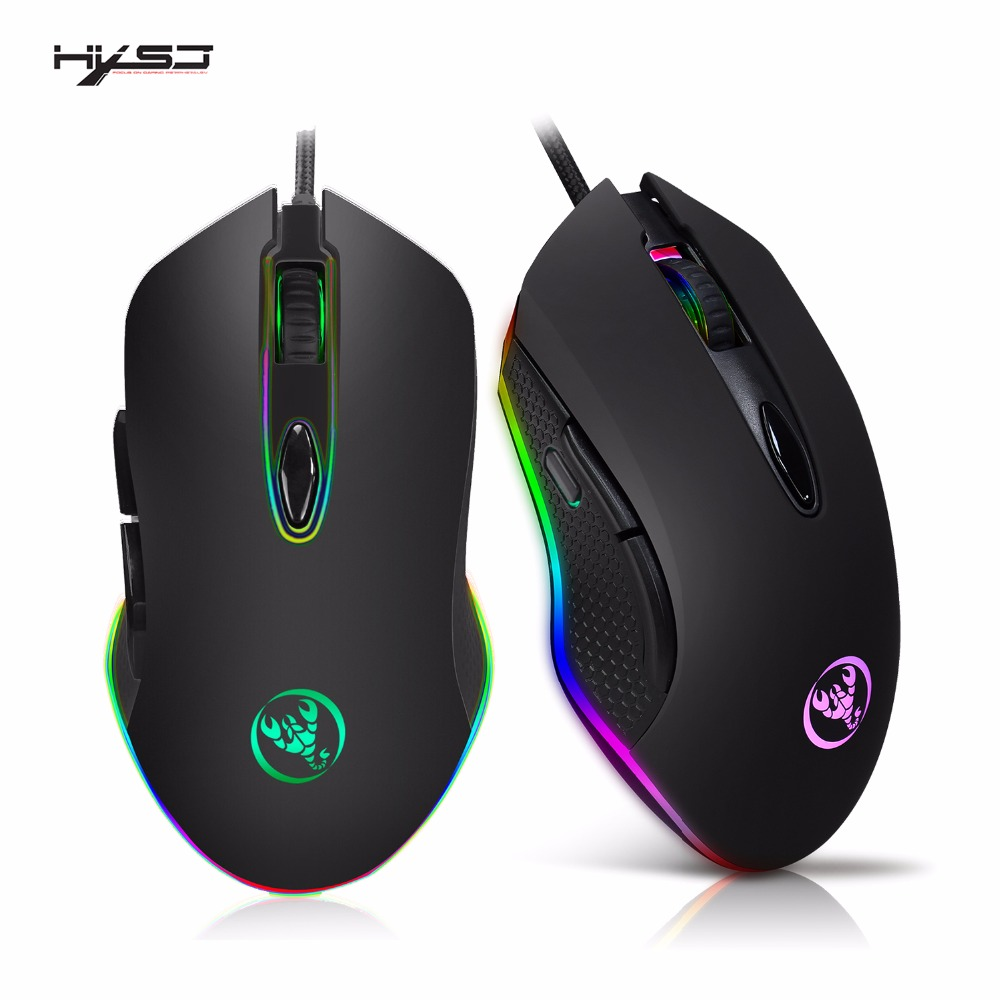 HXSJ Gaming Mouse USB Wired Mouse 6 Buttons 200-4800DPI Optical USB Wired Desktop Mice RGB Backlit For game player feature phone