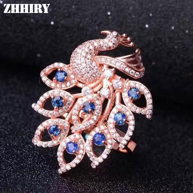 Las mujeres Anillo de piedra de zafiro natural colgante de doble uso del pavo real genuino 925 plata esterlina chapado en oro de la gema joyería Libre de una cadena