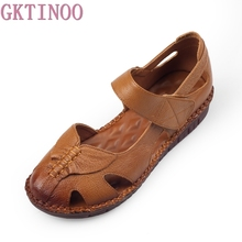 GKTINOO Women's Sandals 2019 Summer Genuine Leather Handmade Ladies Shoe Leather Sandals Women Flats Retro Style Mother Shoes