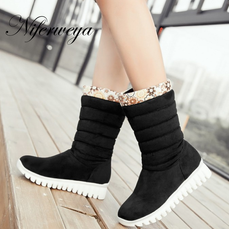 Winter purple snow boots fashion Round Toe Wedges low heel shoes big size 30-46 solid suede Slip-On Mid-Calf boots zapatos mujer