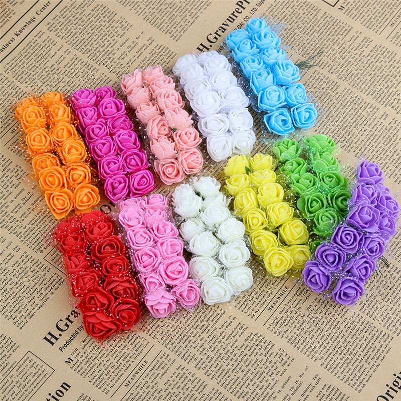 12 шт./лот моделирование мини розы Искусственные цветы Пена DIY букет венок Декор свадебные цветы