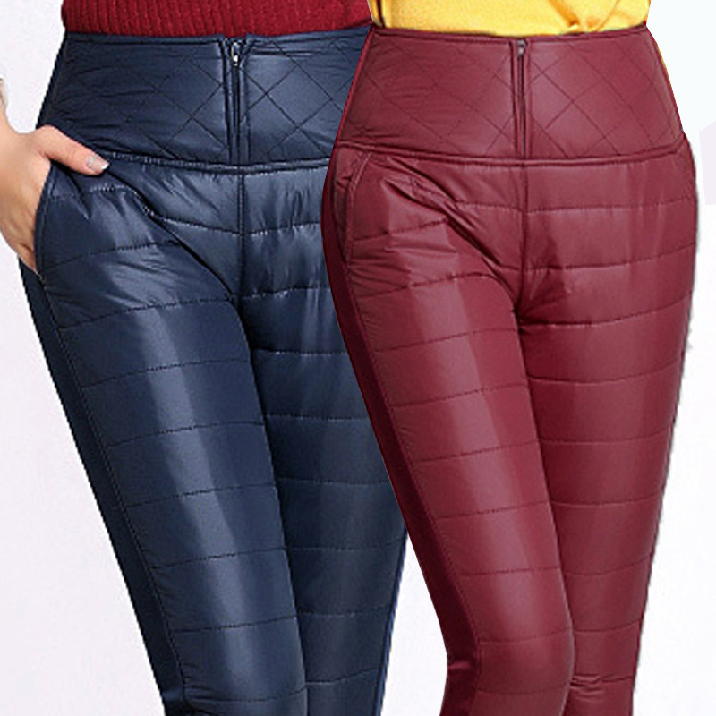 Plus size S-4XL Winter High Waist Down Pencil Pants 2017 Women Slim Warm Windproof Velvet Thick Thermal Trousers Black Wine Blue