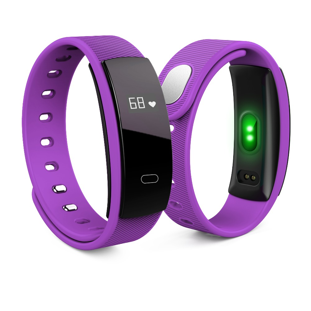 Smartch QS80 Version Blood Pressure Monitor Step Smart Bracelet Pulse Tracker Bluetooth 4 0 Black Purple