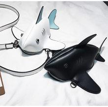 4f22da92d Divertido Personalidade Bonito Tubarão Projeto Pu Couro Bolsa de Ombro  Ocasional Tote Crossbody Mini Saco Do