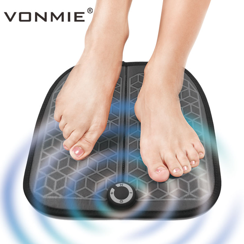 VONMIE EMS Foot Massager ABS Physiotherapy Revitalizing Pedicure Tens Foot Vibrator Wireless Muscle Stimulator USB Rechargeable