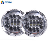 2PCS 7 INCH LED Jeeps Headlight Dual Beam With Yellow Turn Signal And White DRL For